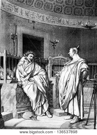 1861 Exhibition of Painting, Two augurs can not watch without laughing, by Gerome, vintage engraved illustration. Magasin Pittoresque 1861.