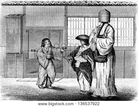 Japanese beggars, vintage engraved illustration. Magasin Pittoresque 1861.