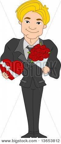 Illustration of a Pinup Guy Carrying Valentine Gifts
