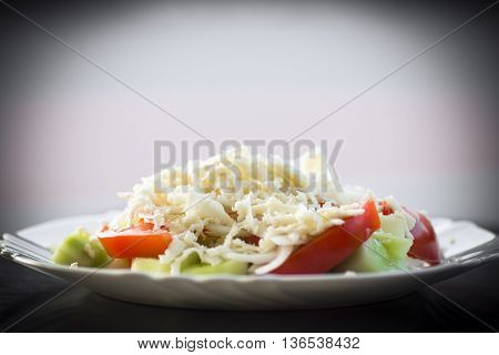 Serbian traditional salad is sopska salad with cheese.