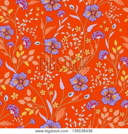 vector seamless cute little flower pattern. Spring summer background. Holidays mood. Gentle romantic childish print. Blue yellow on orange backdrop