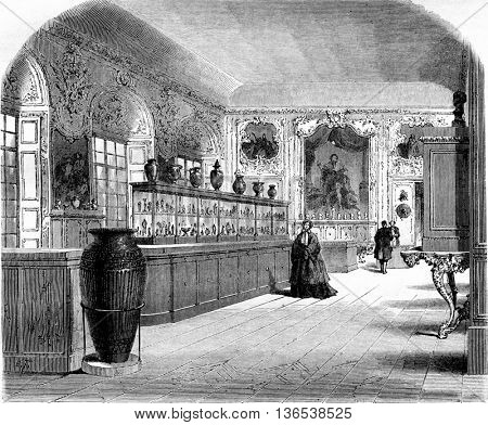 The Cabinet of medals at the Imperial Library, vintage engraved illustration. Magasin Pittoresque 1861.