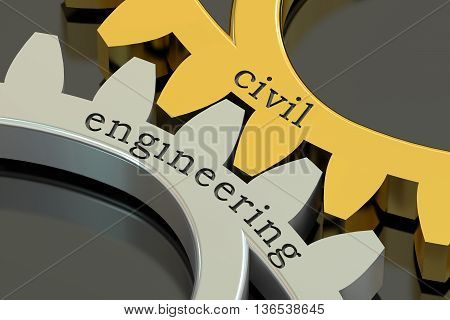 civil engineering concept on the gearwheels 3D rendering