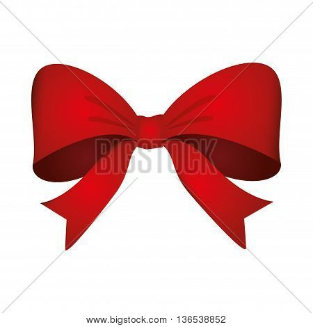 Ribbon concept represented by red bowtie icon. isolated and flat illustration