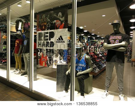 HONOLULU - NOVEMBER 12: Window display at Champs Sport Clothing Appeal at the Ala Moana Mall in Honolulu Hawaii on November 12 2015. Champs Sports is an American sports retail store it operates as a subsidiary of Foot Locker.