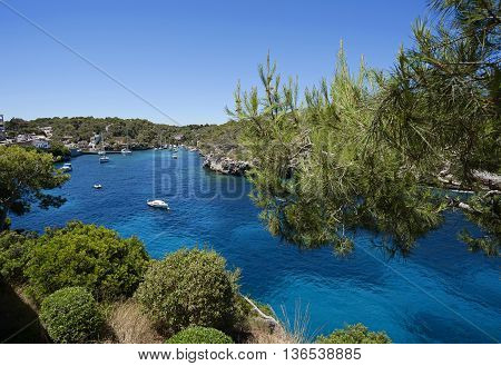 Beautiful View Of The Bay In Azure Sea In The Village Cala Figuera, Majorca, Spain