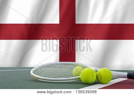 England Tennis Concept With Flag And Ball