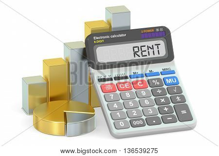 Rent concept 3D rendering isolated on white background