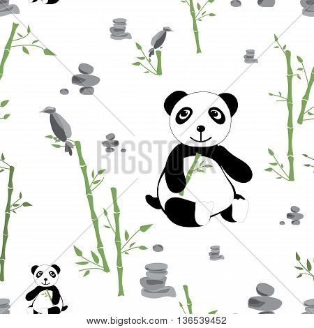 Glade with panda bamboo and stones seamless pattern. Forest background for kids. Print for children
