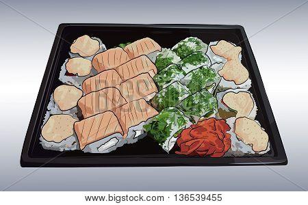 Japanese traditional cuisine, food, illustration set of sushi, rolls, fast food