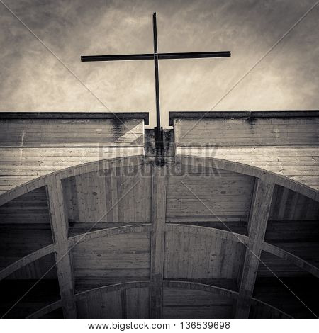 cross of church in black and white