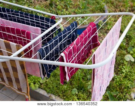 Clean towels in the dryer to dry laundry