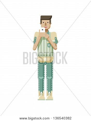 Stock vector illustration isolated of European man with light brown hair, man with smartphone in hand, man looking into screen of phone, striped shirt in flat style on white background