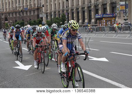 Kiev Ukraine - May 28 2016: Girls - participants cycling Race Horizon Park in 2016 led the race on Khreschatyk Street