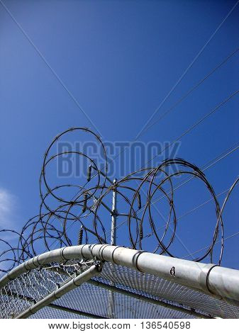 Barb Wire Covers top of Fence covering with Power lines above and blue sky.