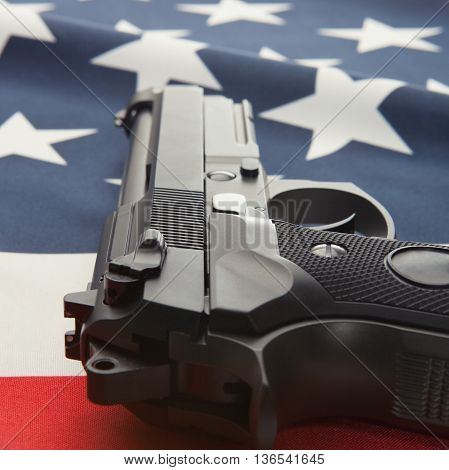 National Flag With Hand Gun Over It Series - United States