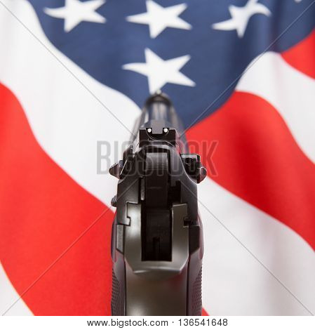 Ruffled Flag With Hand Gun Over It Series - United States Of America