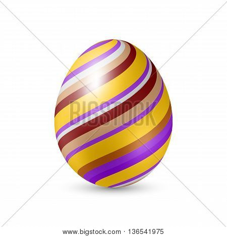 Easter Egg with Strips Pattern Texture - Standing Vertically on White Background