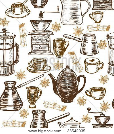 vector hand-drawn coffee background with coffee pots cups cesves grinders and spices