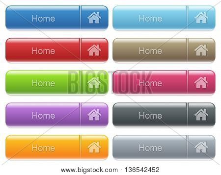 Set of home glossy color captioned menu buttons with embossed icons