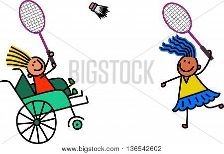 A doodle sketch of a happy little girl in a wheelchair playing a game of badminton with an able bodied friend.
