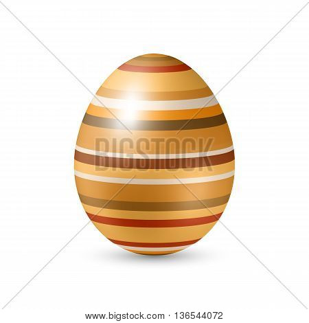 Easter Egg with Horizontal Strips - Standing Vertically on White