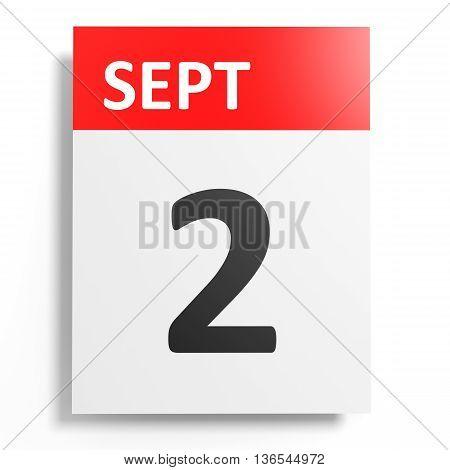 Calendar On White Background. 2 September.
