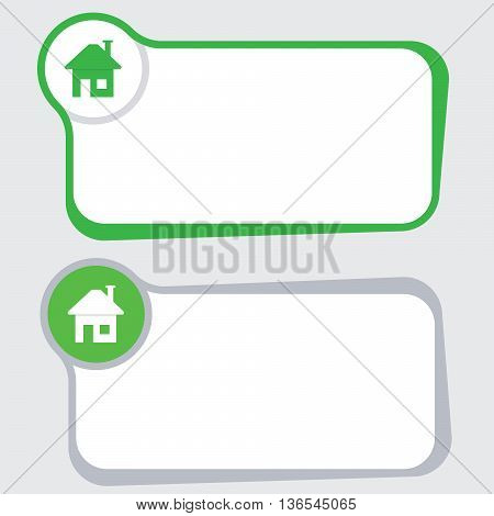 Set of two vector text frames and home symbol