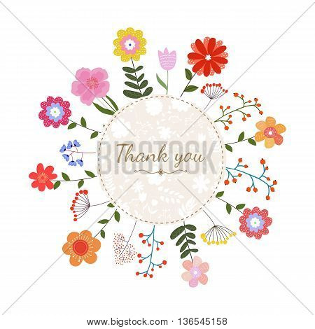 Floral card with text thank you in circle frame