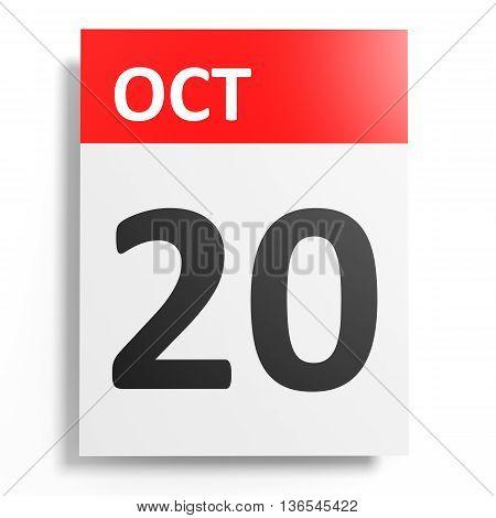 Calendar On White Background. 20 October.