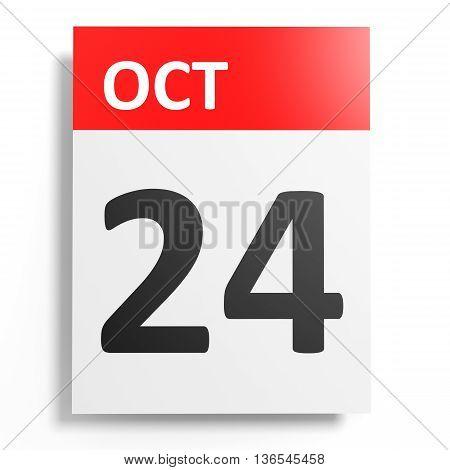 Calendar On White Background. 24 October.