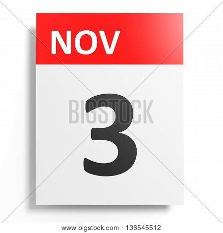 Calendar On White Background. 3 November.