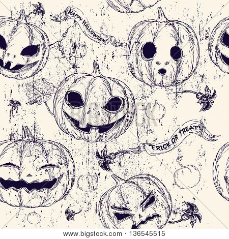 Halloween seamless background with pumpkin. Vector illustration EPS8