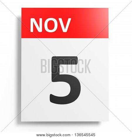 Calendar On White Background. 5 November.