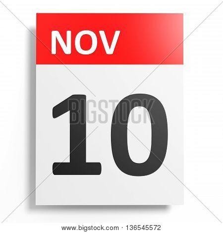 Calendar On White Background. 10 November.