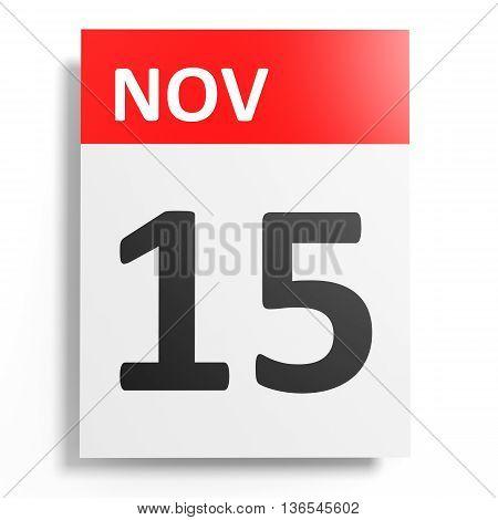 Calendar On White Background. 15 November.