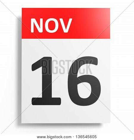 Calendar On White Background. 16 November.