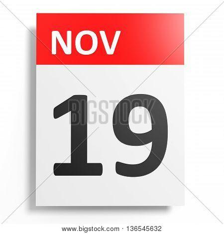 Calendar On White Background. 19 November.