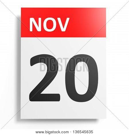 Calendar On White Background. 20 November.