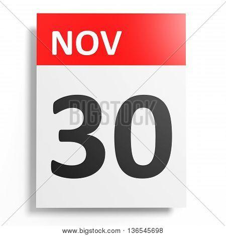 Calendar On White Background. 30 November.
