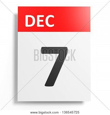 Calendar On White Background. 7 December.