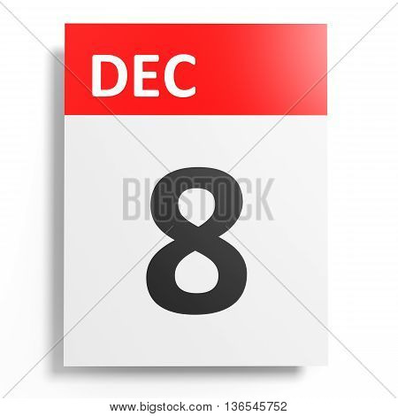 Calendar On White Background. 8 December.