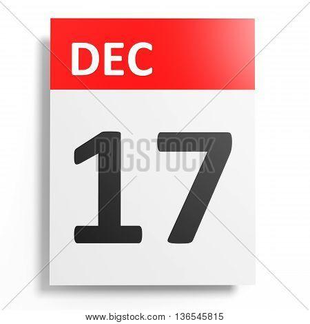 Calendar On White Background. 17 December.