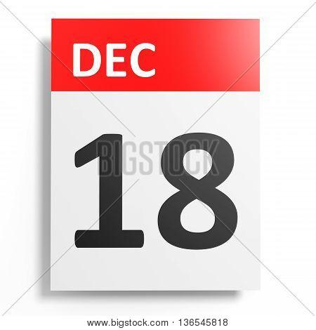 Calendar On White Background. 18 December.