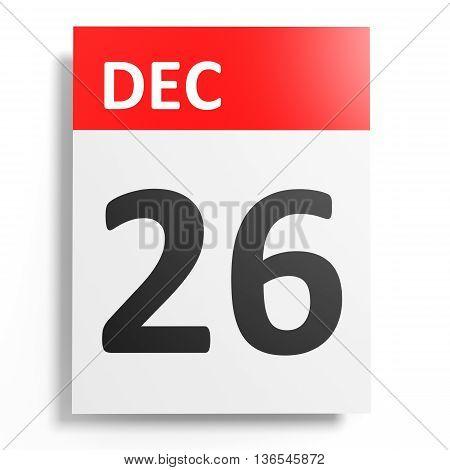 Calendar On White Background. 26 December.