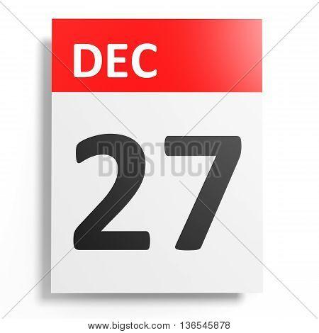 Calendar On White Background. 27 December.