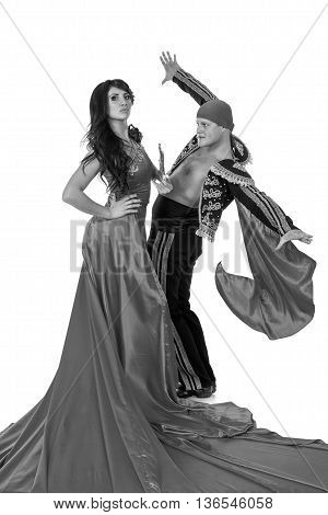 colorless portrait of Gypsy flamenco dancer couple, isolated on white in full length
