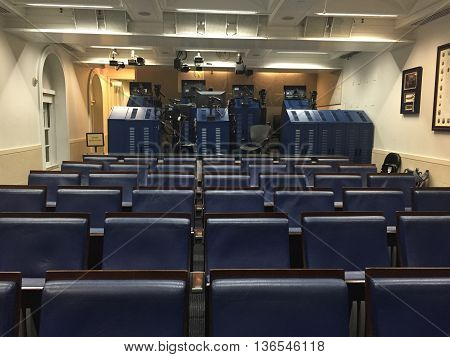 WASHINGTON, D.C. (USA) - October, 2016. Inside the White House press room where important topics are addressed, discussed, and broadcasted to the American public.