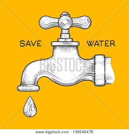 Water tap with drop engraving style vector illustration