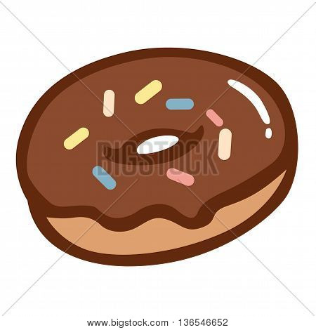 Chocolate Donut with Colourful Sprinkles Vector Clipart